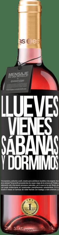24,95 € Envoi gratuit | Vin rosé Édition ROSÉ Llueves, vienes, sábanas y dormimos Étiquette Noire. Étiquette personnalisable Vin jeune Récolte 2020 Tempranillo