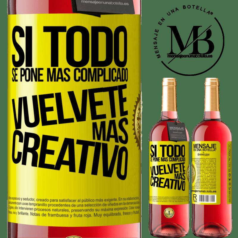 24,95 € Envoi gratuit   Vin rosé Édition ROSÉ Si tout devient plus compliqué, devenez plus créatif Étiquette Jaune. Étiquette personnalisable Vin jeune Récolte 2020 Tempranillo