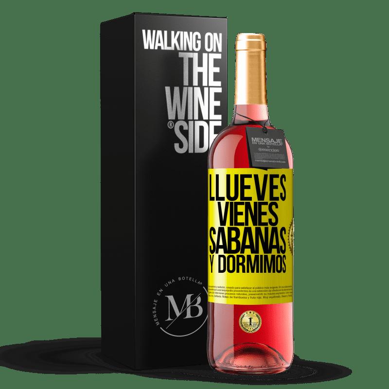 24,95 € Envoi gratuit | Vin rosé Édition ROSÉ Llueves, vienes, sábanas y dormimos Étiquette Jaune. Étiquette personnalisable Vin jeune Récolte 2020 Tempranillo