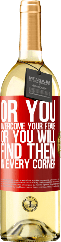 24,95 € Free Shipping   White Wine WHITE Edition Or you overcome your fears, or you will find them in every corner Red Label. Customizable label Young wine Harvest 2020 Verdejo