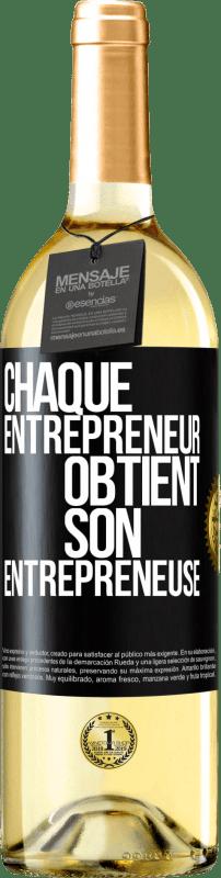 24,95 € Envoi gratuit | Vin blanc Édition WHITE Chaque entrepreneur obtient son entrepreneur Étiquette Noire. Étiquette personnalisable Vin jeune Récolte 2020 Verdejo