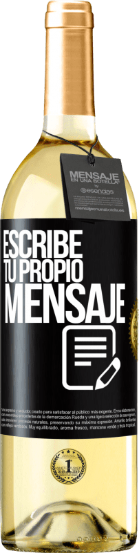 24,95 € Envío gratis   Vino Blanco Edición WHITE Escribe tu propio mensaje Etiqueta Negra. Etiqueta personalizable Vino joven Cosecha 2020 Verdejo