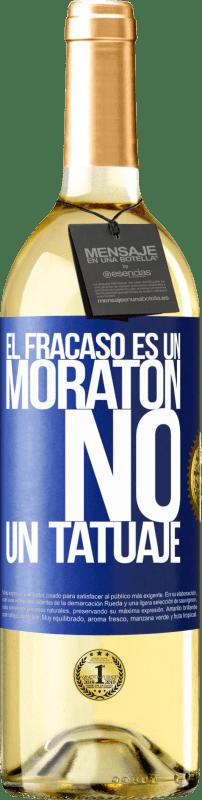 24,95 € Envío gratis   Vino Blanco Edición WHITE El fracaso es un moratón, no un tatuaje Etiqueta Azul. Etiqueta personalizable Vino joven Cosecha 2020 Verdejo