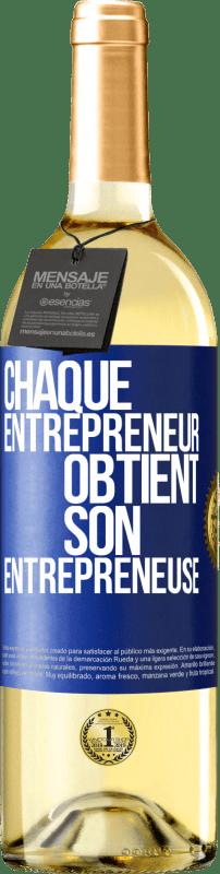 24,95 € Envoi gratuit | Vin blanc Édition WHITE Chaque entrepreneur obtient son entrepreneur Étiquette Bleue. Étiquette personnalisable Vin jeune Récolte 2020 Verdejo