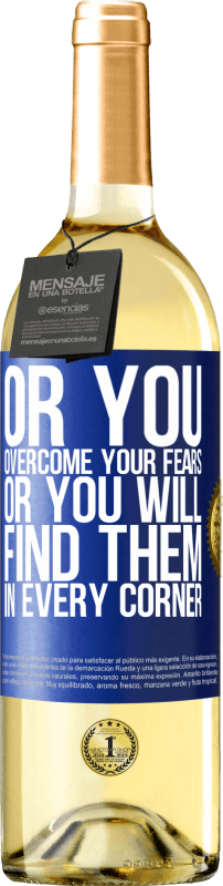 24,95 € Free Shipping   White Wine WHITE Edition Or you overcome your fears, or you will find them in every corner Blue Label. Customizable label Young wine Harvest 2020 Verdejo