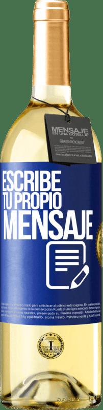 24,95 € Envío gratis   Vino Blanco Edición WHITE Escribe tu propio mensaje Etiqueta Azul. Etiqueta personalizable Vino joven Cosecha 2020 Verdejo