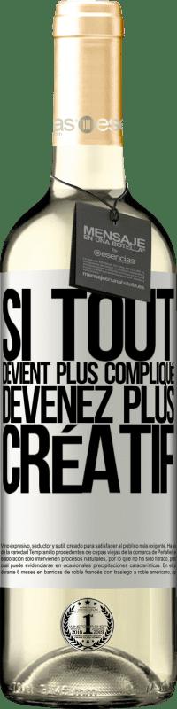 24,95 € Envoi gratuit   Vin blanc Édition WHITE Si tout devient plus compliqué, devenez plus créatif Étiquette Blanche. Étiquette personnalisable Vin jeune Récolte 2020 Verdejo