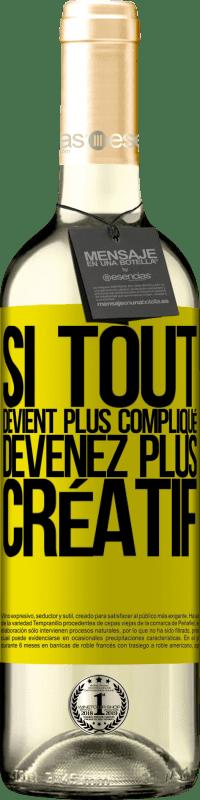 24,95 € Envoi gratuit   Vin blanc Édition WHITE Si tout devient plus compliqué, devenez plus créatif Étiquette Jaune. Étiquette personnalisable Vin jeune Récolte 2020 Verdejo
