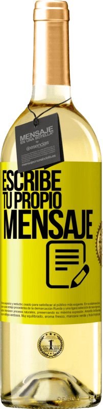24,95 € Envío gratis   Vino Blanco Edición WHITE Escribe tu propio mensaje Etiqueta Amarilla. Etiqueta personalizable Vino joven Cosecha 2020 Verdejo