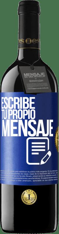 24,95 € Envío gratis   Vino Tinto Edición RED Crianza 6 Meses Escribe tu propio mensaje Etiqueta Azul. Etiqueta personalizable Crianza en barrica de roble 6 Meses Cosecha 2018 Tempranillo