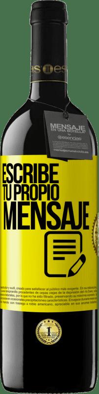 24,95 € Envío gratis   Vino Tinto Edición RED Crianza 6 Meses Escribe tu propio mensaje Etiqueta Amarilla. Etiqueta personalizable Crianza en barrica de roble 6 Meses Cosecha 2018 Tempranillo