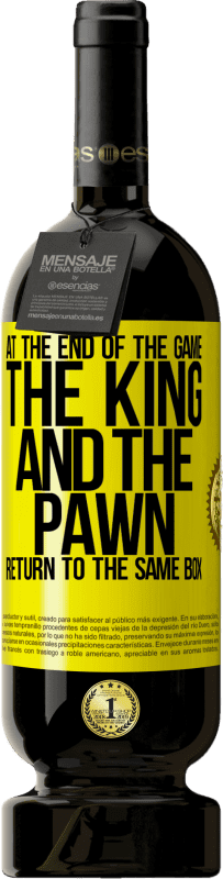 24,95 € Free Shipping | Red Wine Premium Edition RED MBS At the end of the game, the king and the pawn return to the same box Yellow Label. Customized label I.G.P. Vino de la Tierra de Castilla y León Aging in oak barrels 12 Months Harvest 2016 Spain Tempranillo