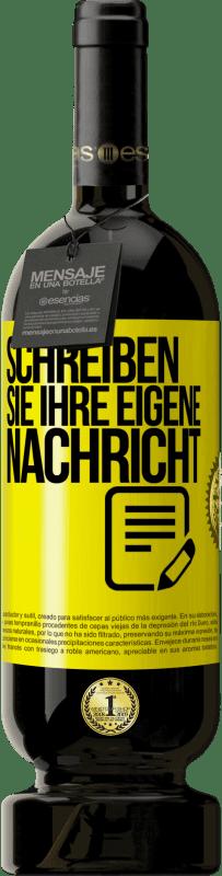 29,95 € Kostenloser Versand | Rotwein Premium Edition MBS® Reserva Schreiben Sie Ihre eigene Nachricht Gelbes Etikett. Anpassbares Etikett Reserva 12 Monate Ernte 2013 Tempranillo