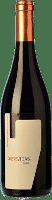 17,95 € Free Shipping | Red wine Vidas Siete Vidas Roble D.O.P. Vino de Calidad de Cangas Principality of Asturias Spain Verdejo Black, Carrasquín, Albarín Black Bottle 75 cl