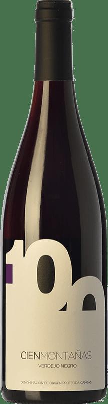 22,95 € Free Shipping | Red wine Vidas 100 Montañas Crianza D.O.P. Vino de Calidad de Cangas Principality of Asturias Spain Verdejo Black Bottle 75 cl