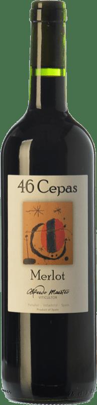 9,95 € Envío gratis | Vino tinto Maestro Tejero 46 Cepas Joven I.G.P. Vino de la Tierra de Castilla y León Castilla y León España Merlot Botella 75 cl