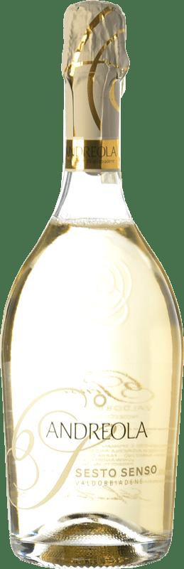 14,95 € Free Shipping | White sparkling Andreola Superiore Sesto Senso Dry D.O.C.G. Prosecco di Conegliano-Valdobbiadene Treviso Italy Glera, Bianchetta, Perera Bottle 75 cl