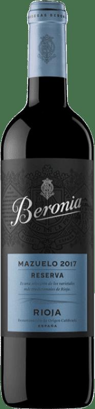 19,95 € Envío gratis | Vino tinto Beronia Reserva D.O.Ca. Rioja La Rioja España Mazuelo Botella 75 cl
