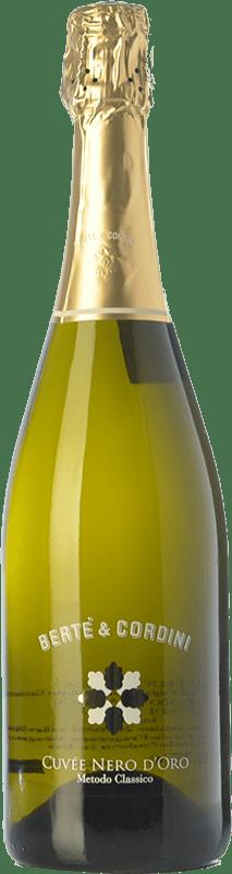 21,95 € Free Shipping | White sparkling Bertè & Cordini Nero d'Oro D.O.C.G. Oltrepò Pavese Metodo Classico Lombardia Italy Pinot Black Bottle 75 cl