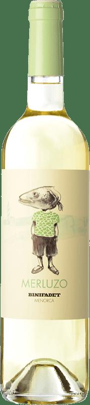 11,95 € Free Shipping | White wine Binifadet Merluzo I.G.P. Vi de la Terra de Illa de Menorca Balearic Islands Spain Merlot, Malvasía, Muscat, Chardonnay Bottle 75 cl
