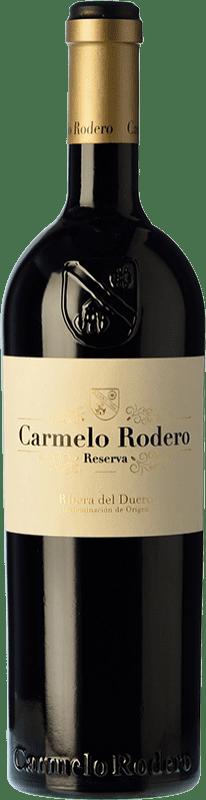 28,95 € Envío gratis | Vino tinto Carmelo Rodero Reserva D.O. Ribera del Duero Castilla y León España Tempranillo, Cabernet Sauvignon Botella 75 cl