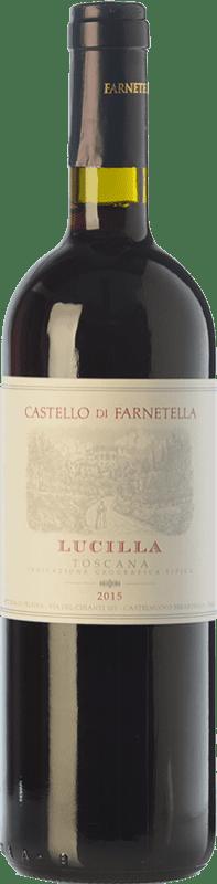 8,95 € Envío gratis | Vino tinto Castello di Farnetella Lucilla I.G.T. Toscana Toscana Italia Merlot, Cabernet Sauvignon, Sangiovese Botella 75 cl