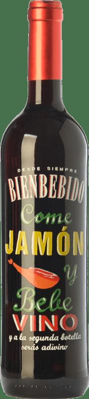 6,95 € Free Shipping | Red wine Castillo de Maetierra Come Jamón y Bebe Vino Joven D.O.Ca. Rioja The Rioja Spain Tempranillo Bottle 75 cl