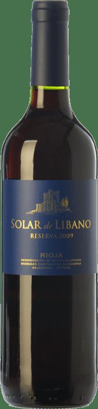 11,95 € Envío gratis | Vino tinto Castillo de Sajazarra Solar de Líbano Reserva D.O.Ca. Rioja La Rioja España Tempranillo, Garnacha, Graciano Botella 75 cl
