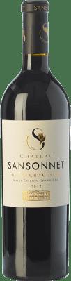28,95 € Free Shipping | Red wine Château Sansonnet Crianza A.O.C. Saint-Émilion Grand Cru Bordeaux France Merlot, Cabernet Franc Bottle 75 cl