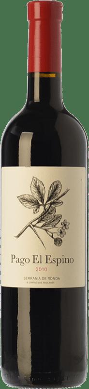 19,95 € Envío gratis | Vino tinto Los Aguilares Pago El Espino Crianza D.O. Sierras de Málaga Andalucía España Tempranillo, Merlot, Petit Verdot Botella 75 cl