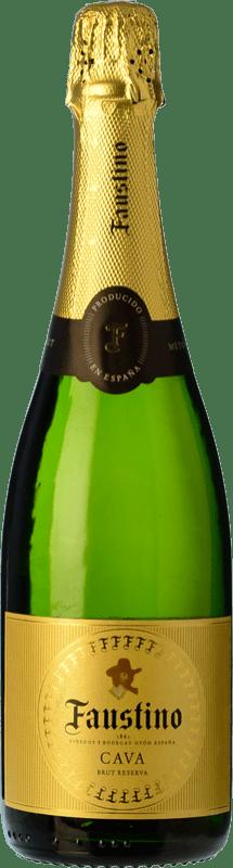 9,95 € 免费送货   白起泡酒 Faustino 香槟 Reserva D.O. Cava 加泰罗尼亚 西班牙 Macabeo, Chardonnay 瓶子 75 cl