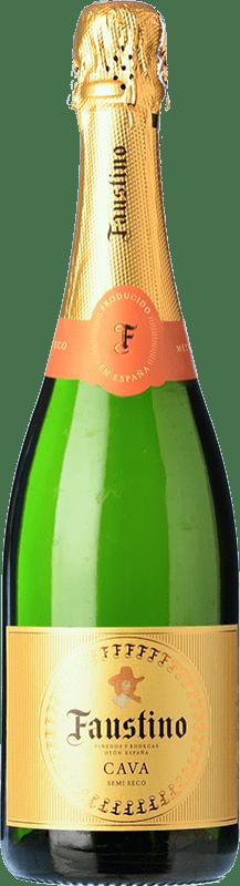 7,95 € 免费送货   白起泡酒 Faustino 干 Joven D.O. Cava 加泰罗尼亚 西班牙 Macabeo, Chardonnay 瓶子 75 cl