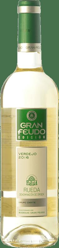 6,95 € Envío gratis | Vino blanco Gran Feudo Edición D.O. Rueda Castilla y León España Verdejo Botella 75 cl