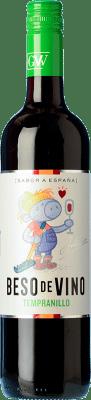 5,95 € Envío gratis | Vino tinto Grandes Vinos Beso de Vino Ecológico Joven D.O. Cariñena Aragón España Tempranillo Botella 75 cl