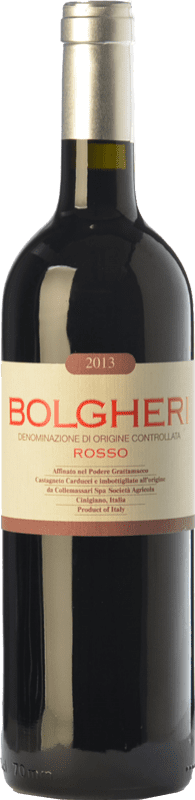 21,95 € Free Shipping | Red wine Grattamacco Rosso D.O.C. Bolgheri Tuscany Italy Merlot, Cabernet Sauvignon, Sangiovese, Cabernet Franc Bottle 75 cl