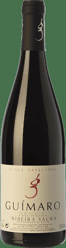 33,95 € Free Shipping | Red wine Guímaro Finca Capeliños Crianza D.O. Ribeira Sacra Galicia Spain Mencía, Sousón, Caíño Black Bottle 75 cl