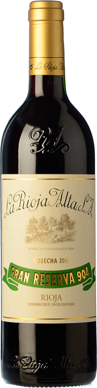55,95 € Free Shipping | Red wine Rioja Alta 904 Gran Reserva 2010 D.O.Ca. Rioja The Rioja Spain Tempranillo, Graciano Bottle 75 cl