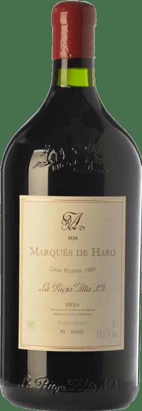 281,95 € Kostenloser Versand | Rotwein Rioja Alta Marqués de Haro Gran Reserva 1989 D.O.Ca. Rioja La Rioja Spanien Tempranillo, Graciano, Mazuelo Jéroboam Flasche-Doppel Magnum 3 L