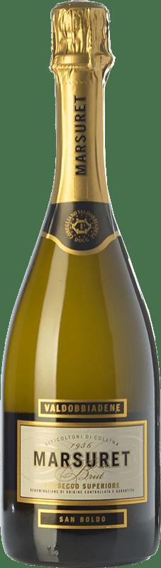 14,95 € Free Shipping | White sparkling Marsuret Brut D.O.C. Prosecco Veneto Italy Glera Bottle 75 cl