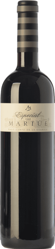16,95 € Free Shipping | Red wine Martúe Especial Crianza D.O.P. Vino de Pago Campo de la Guardia Castilla la Mancha Spain Merlot, Syrah, Cabernet Sauvignon Bottle 75 cl