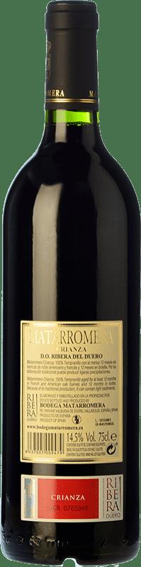 18,95 € Envío gratis   Vino tinto Matarromera Crianza D.O. Ribera del Duero Castilla y León España Tempranillo Botella 75 cl