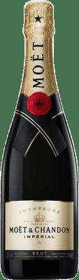 33,95 € Бесплатная доставка | Белое игристое Moët & Chandon Impérial брют Reserva A.O.C. Champagne шампанское Франция Pinot Black, Chardonnay, Pinot Meunier бутылка 75 cl