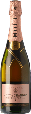 45,95 € Envío gratis | Espumoso rosado Moët & Chandon Rosé Impérial Reserva A.O.C. Champagne Champagne Francia Pinot Negro, Chardonnay, Pinot Meunier Botella 75 cl