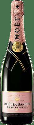 45,95 € Бесплатная доставка | Розовое игристое Moët & Chandon Rosé Impérial Reserva A.O.C. Champagne шампанское Франция Pinot Black, Chardonnay, Pinot Meunier бутылка 75 cl