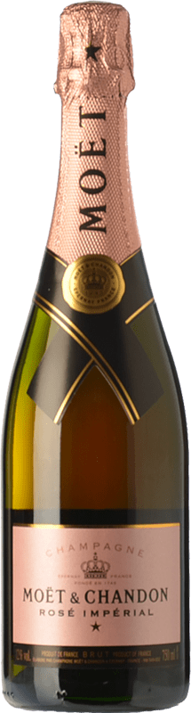 52,95 € Free Shipping | Rosé sparkling Moët & Chandon Rosé Impérial Reserva A.O.C. Champagne Champagne France Pinot Black, Chardonnay, Pinot Meunier Bottle 75 cl