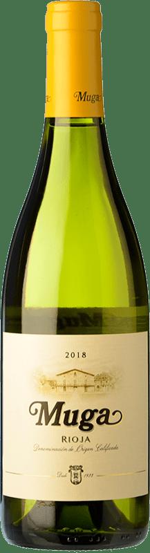 13,95 € Envio grátis | Vinho branco Muga Fermentado en Barrica Crianza D.O.Ca. Rioja La Rioja Espanha Viura, Malvasía Garrafa 75 cl