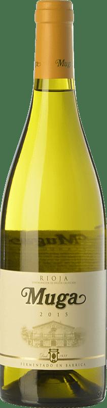 25,95 € Envio grátis | Vinho branco Muga Fermentado en Barrica Crianza D.O.Ca. Rioja La Rioja Espanha Viura, Malvasía Garrafa Magnum 1,5 L