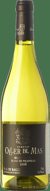 9,95 € Free Shipping | White wine Oller del Mas Bernat Blanc de Picapolls D.O. Pla de Bages Catalonia Spain Picapoll Black, Picapoll Bottle 75 cl