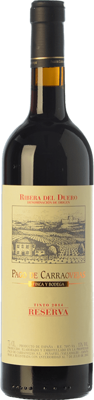 49,95 € Kostenloser Versand | Rotwein Pago de Carraovejas Reserva D.O. Ribera del Duero Kastilien und León Spanien Tempranillo, Merlot, Cabernet Sauvignon Flasche 75 cl