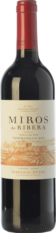 6,95 € Envío gratis | Vino tinto Peñafiel Miros Cosecha Joven D.O. Ribera del Duero Castilla y León España Tempranillo Botella 75 cl